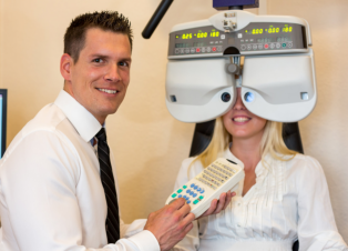 doctor running some eye test to the patient